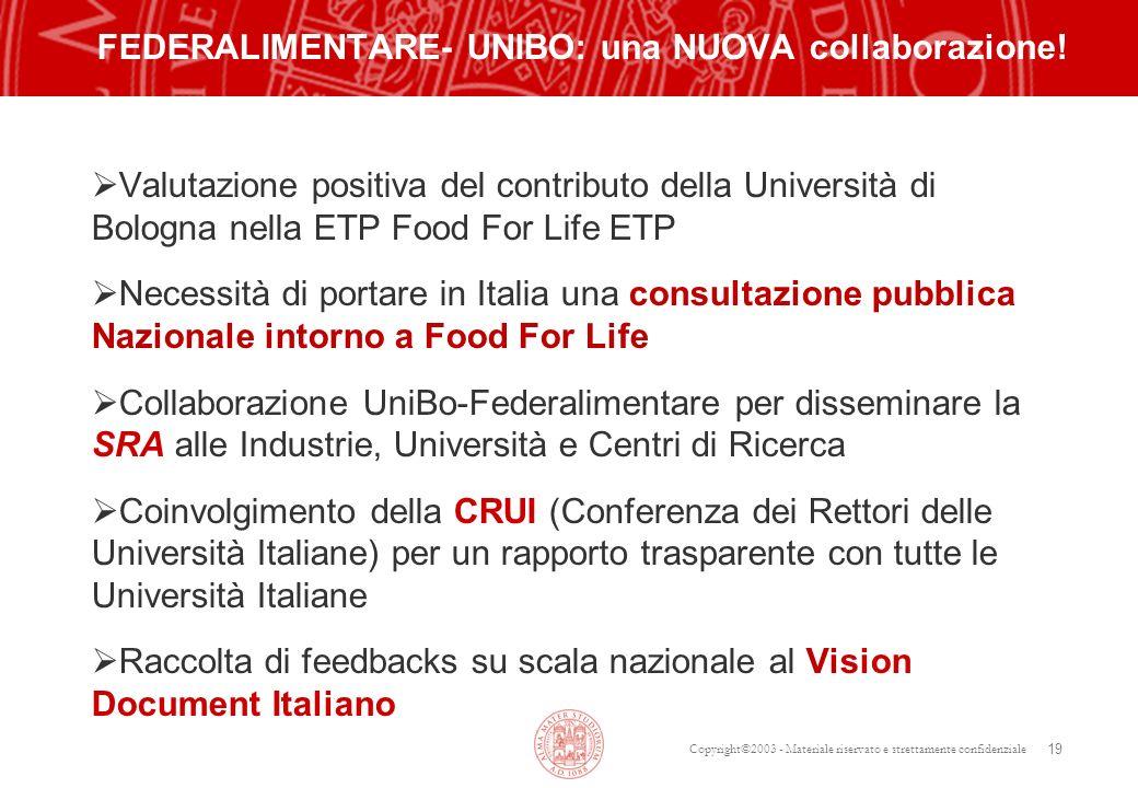 Copyright©2003 - Materiale riservato e strettamente confidenziale 19 FEDERALIMENTARE- UNIBO: una NUOVA collaborazione! Valutazione positiva del contri