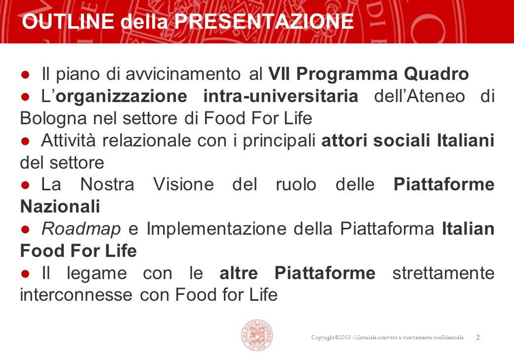 Copyright©2003 - Materiale riservato e strettamente confidenziale 13 ~80 gruppi della Università di Bologna sulle 7 TEMATICHE SERVIZIO EUROPEO DELLA UNIVERSITA DI BOLOGNA: Food and Health (Prof.