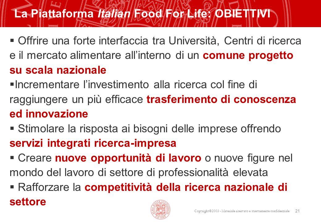 Copyright©2003 - Materiale riservato e strettamente confidenziale 21 Offrire una forte interfaccia tra Università, Centri di ricerca e il mercato alim