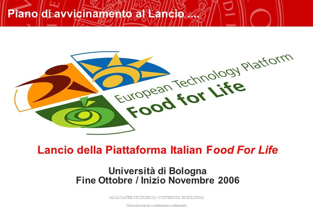 ALMA MATER STUDIORUM – UNIVERSITA DI BOLOGNA Materiale riservato e strettamente confidenziale Lancio della Piattaforma Italian Food For Life Universit