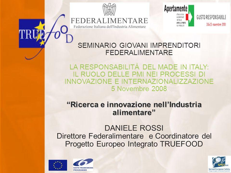 SEMINARIO GIOVANI IMPRENDITORI FEDERALIMENTARE LA RESPONSABILITÀ DEL MADE IN ITALY: IL RUOLO DELLE PMI NEI PROCESSI DI INNOVAZIONE E INTERNAZIONALIZZAZIONE 5 Novembre 2008 Ricerca e innovazione nellIndustria alimentare DANIELE ROSSI Direttore Federalimentare e Coordinatore del Progetto Europeo Integrato TRUEFOOD