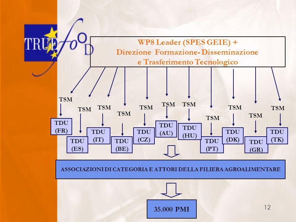 12 TDU (PT) TDU (DK) TDU (GR) TDU (TK) TDU (HU) TDU (AU) TDU (CZ) TDU (BE) TDU (IT) TDU (ES) TSM WP8 Leader (SPES GEIE) + Direzione Formazione- Disseminazione e Trasferimento Tecnologico ASSOCIAZIONI DI CATEGORIA E ATTORI DELLA FILIERA AGROALIMENTARE TDU (FR) TSM 35.000 PMI