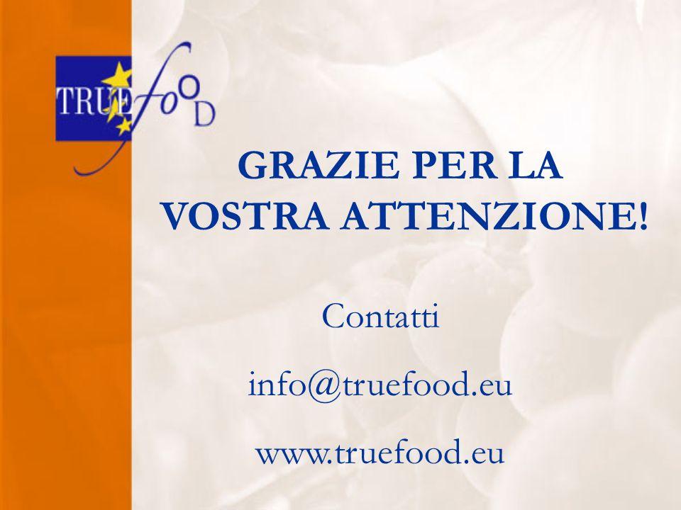 GRAZIE PER LA VOSTRA ATTENZIONE! Contatti info@truefood.eu www.truefood.eu