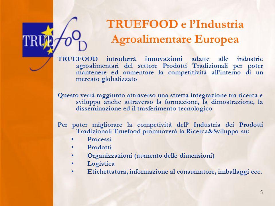 5 TRUEFOOD e lIndustria Agroalimentare Europea TRUEFOOD introdurrà innovazioni adatte alle industrie agroalimentari del settore Prodotti Tradizionali per poter mantenere ed aumentare la competitività allinterno di un mercato globalizzato Questo verrà raggiunto attraverso una stretta integrazione tra ricerca e sviluppo anche attraverso la formazione, la dimostrazione, la disseminazione ed il trasferimento tecnologico Per poter migliorare la competività dell Industria dei Prodotti Tradizionali Truefood promuoverà la Ricerca&Sviluppo su: Processi Prodotti Organizzazioni (aumento delle dimensioni) Logistica Etichettatura, informazione al consumatore, imballaggi ecc.