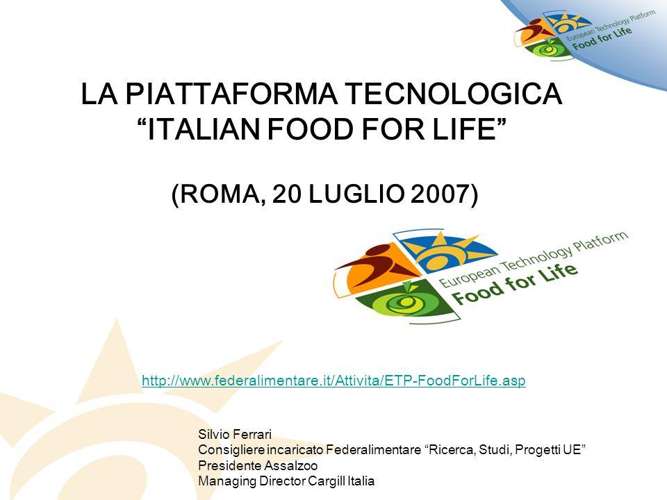 http://www.federalimentare.it/Attivita/ETP-FoodForLife.asp LA PIATTAFORMA TECNOLOGICA ITALIAN FOOD FOR LIFE (ROMA, 20 LUGLIO 2007) Silvio Ferrari Cons