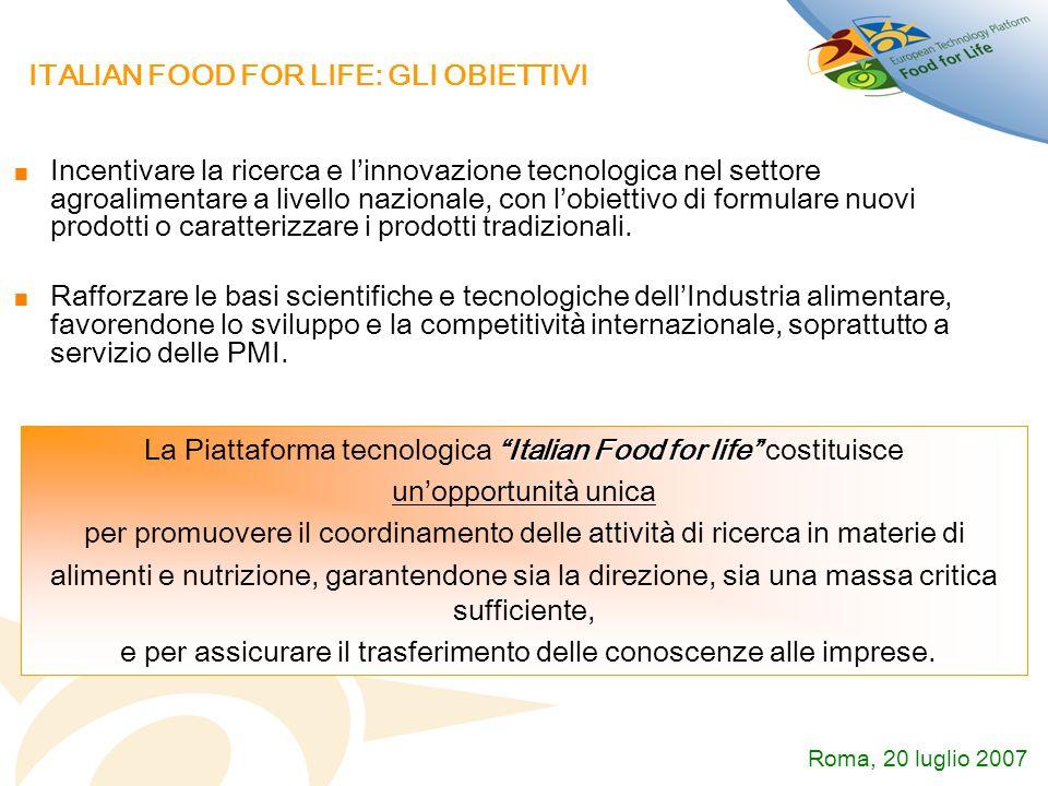 ITALIAN FOOD FOR LIFE: GLI OBIETTIVI Incentivare la ricerca e linnovazione tecnologica nel settore agroalimentare a livello nazionale, con lobiettivo