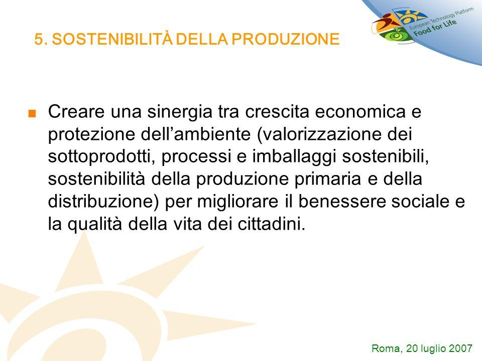 5. SOSTENIBILITÀ DELLA PRODUZIONE Creare una sinergia tra crescita economica e protezione dellambiente (valorizzazione dei sottoprodotti, processi e i