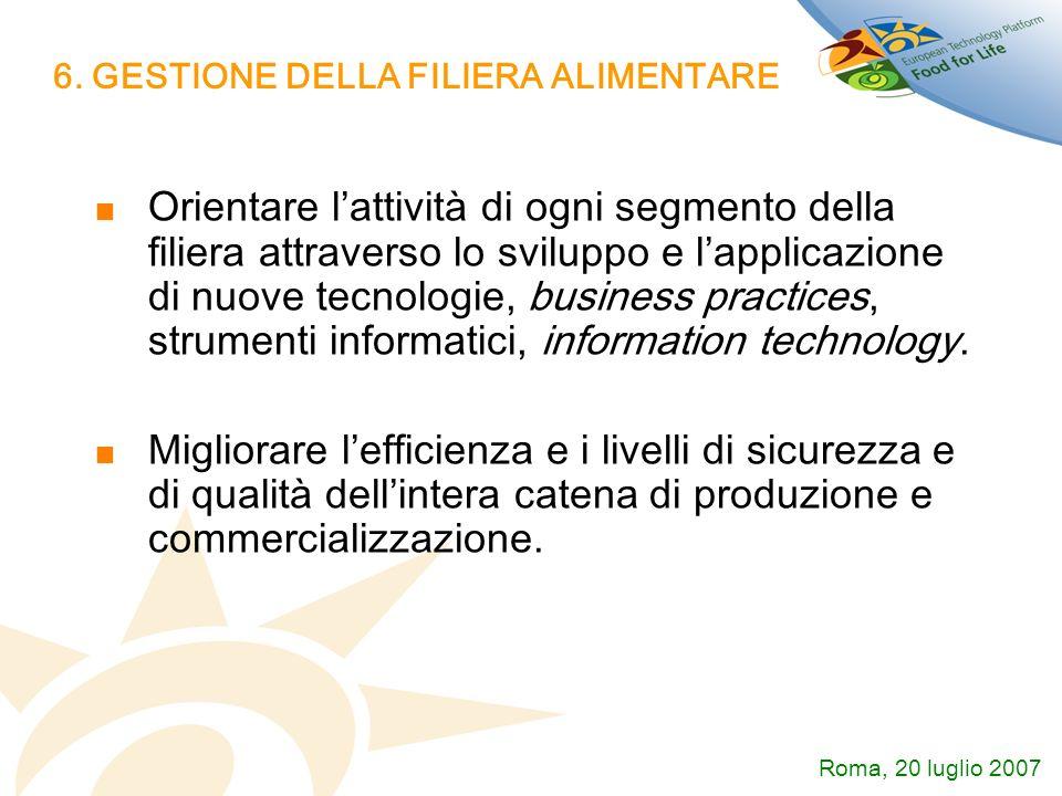 6. GESTIONE DELLA FILIERA ALIMENTARE Orientare lattività di ogni segmento della filiera attraverso lo sviluppo e lapplicazione di nuove tecnologie, bu