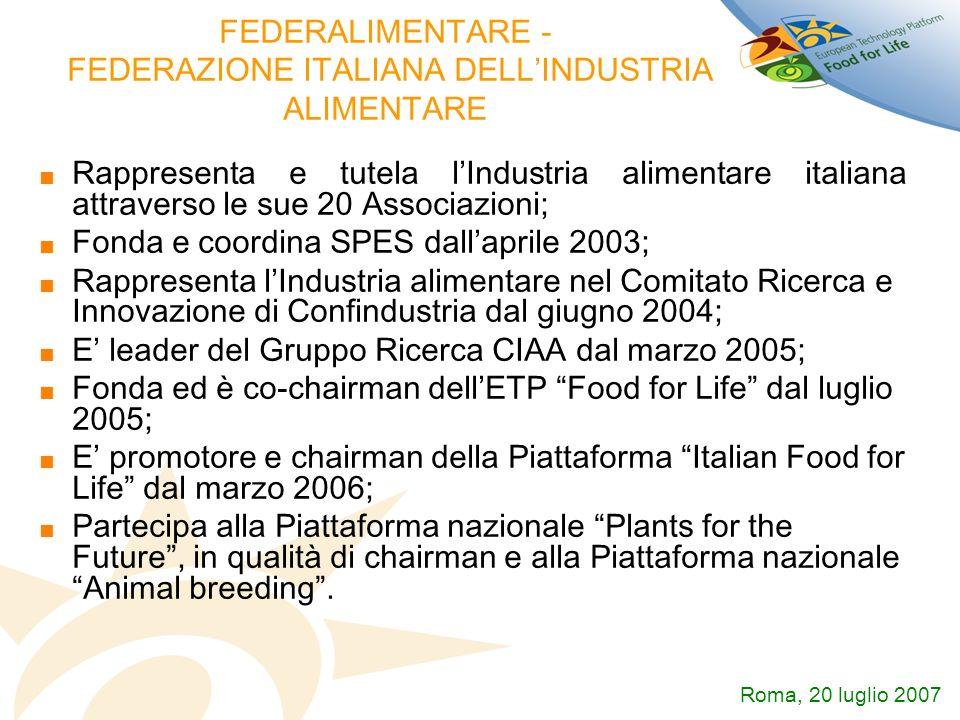 FEDERALIMENTARE - FEDERAZIONE ITALIANA DELLINDUSTRIA ALIMENTARE Rappresenta e tutela lIndustria alimentare italiana attraverso le sue 20 Associazioni;