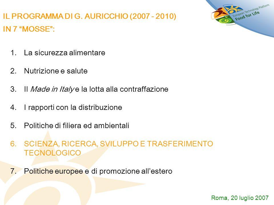 IL PROGRAMMA DI G. AURICCHIO (2007 - 2010) IN 7 MOSSE: 1.La sicurezza alimentare 2.Nutrizione e salute 3.Il Made in Italy e la lotta alla contraffazio