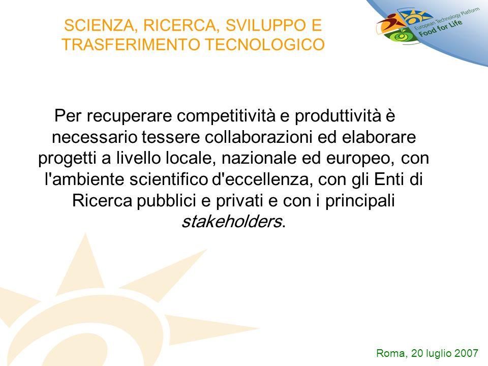 SCIENZA, RICERCA, SVILUPPO E TRASFERIMENTO TECNOLOGICO Per recuperare competitività e produttività è necessario tessere collaborazioni ed elaborare pr
