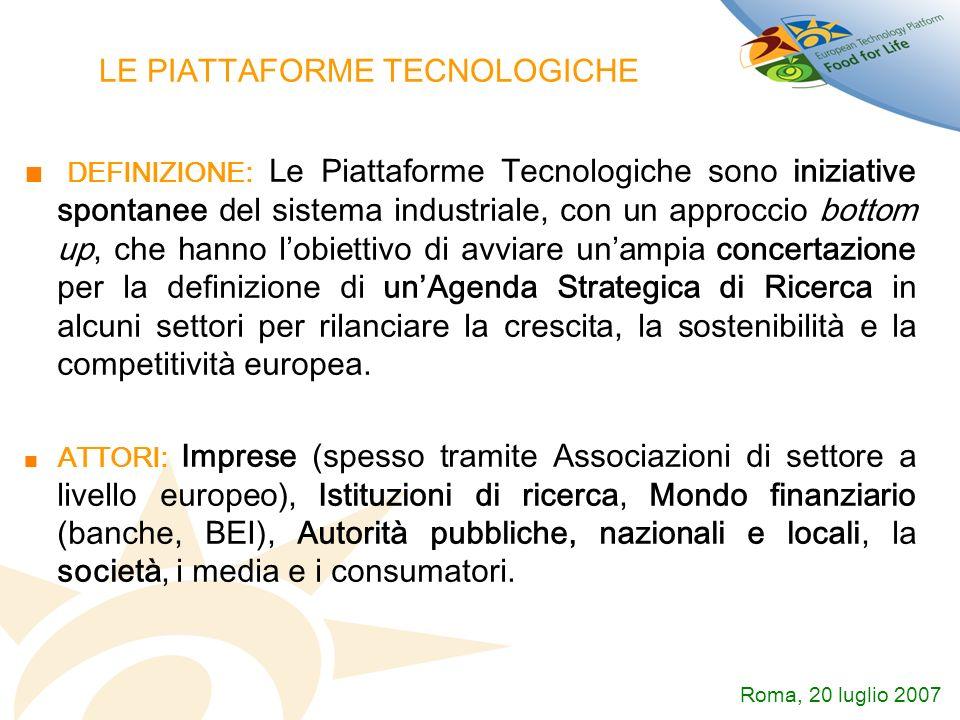 LE PIATTAFORME TECNOLOGICHE DEFINIZIONE: Le Piattaforme Tecnologiche sono iniziative spontanee del sistema industriale, con un approccio bottom up, ch
