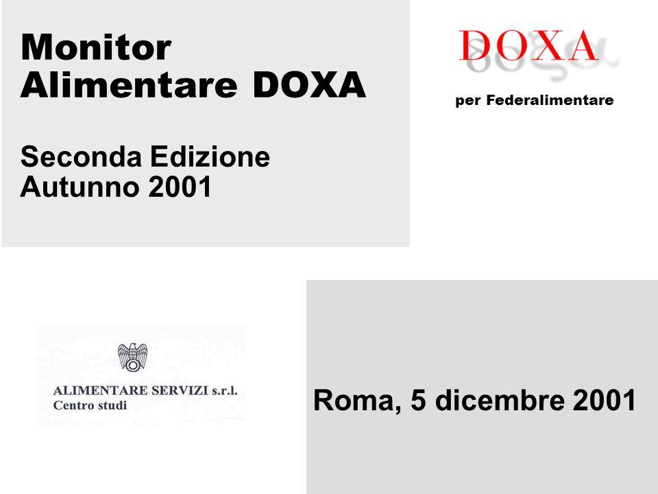 Monitor Alimentare DOXA Seconda Edizione Autunno 2001 Roma, 5 dicembre 2001 per Federalimentare