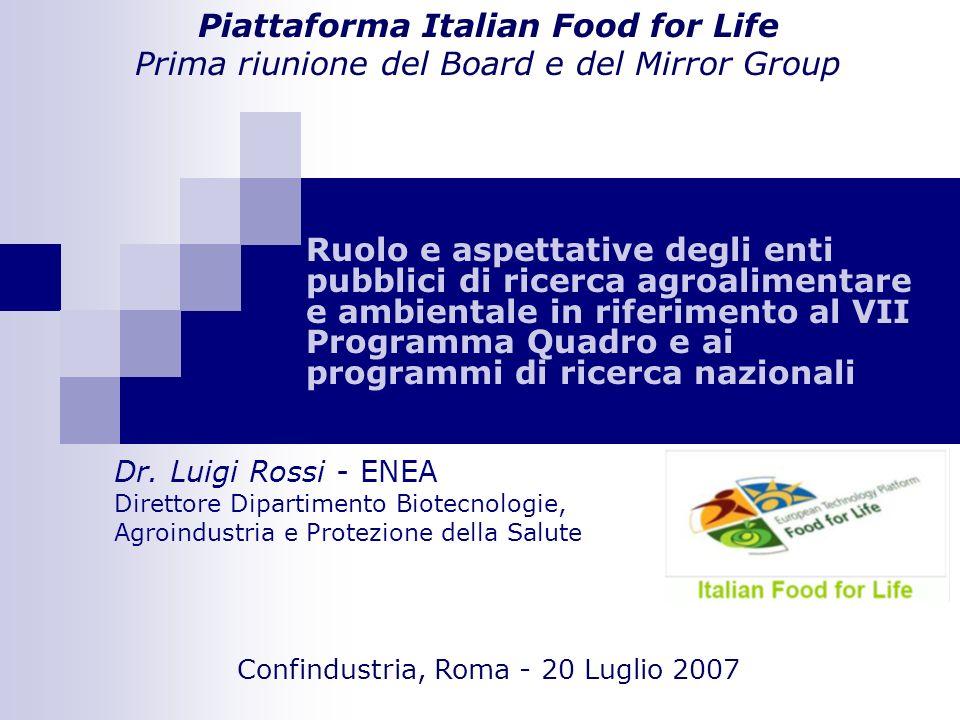 Ruolo e aspettative degli enti pubblici di ricerca agroalimentare e ambientale in riferimento al VII Programma Quadro e ai programmi di ricerca nazionali Piattaforma Italian Food for Life Prima riunione del Board e del Mirror Group Dr.