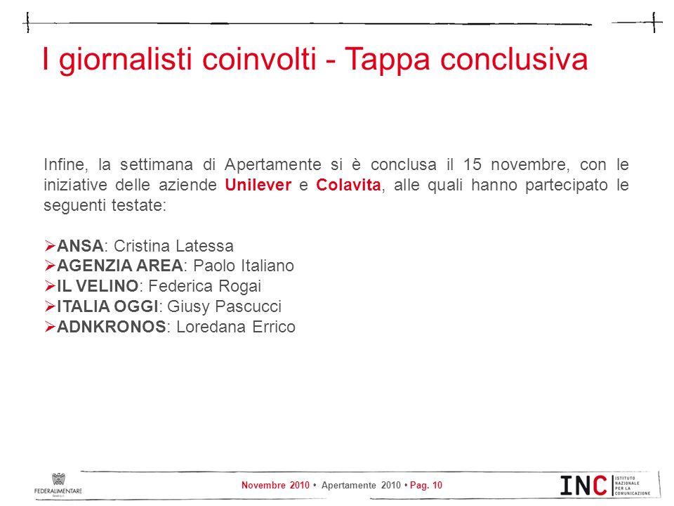 Novembre 2010 Apertamente 2010 Pag. 10 I giornalisti coinvolti - Tappa conclusiva Infine, la settimana di Apertamente si è conclusa il 15 novembre, co
