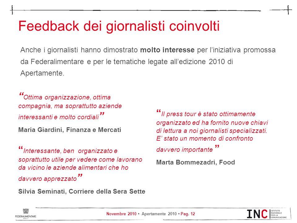 Novembre 2010 Apertamente 2010 Pag. 12 Feedback dei giornalisti coinvolti Anche i giornalisti hanno dimostrato molto interesse per liniziativa promoss