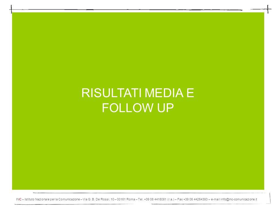 Novembre 2010 Apertamente 2010 Pag. 13 RISULTATI MEDIA E FOLLOW UP INC – Istituto Nazionale per la Comunicazione – Via G. B. De Rossi, 10 – 00161 Roma