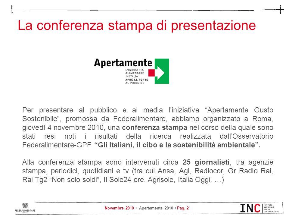 Novembre 2010 Apertamente 2010 Pag. 2 La conferenza stampa di presentazione Per presentare al pubblico e ai media liniziativa Apertamente Gusto Sosten