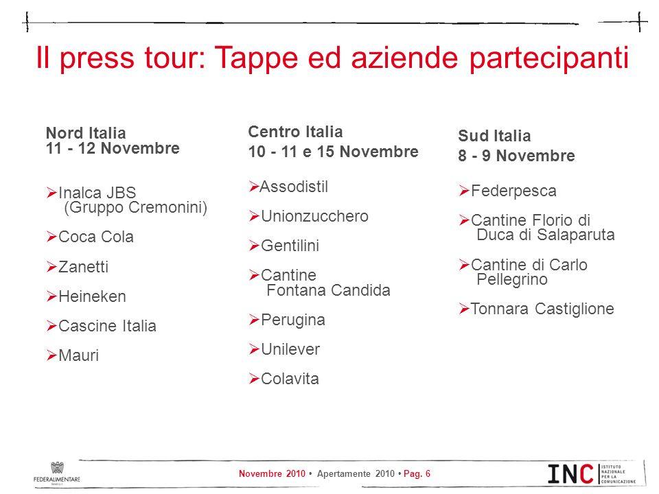 Novembre 2010 Apertamente 2010 Pag. 6 Il press tour: Tappe ed aziende partecipanti Nord Italia 11 - 12 Novembre Inalca JBS (Gruppo Cremonini) Coca Col