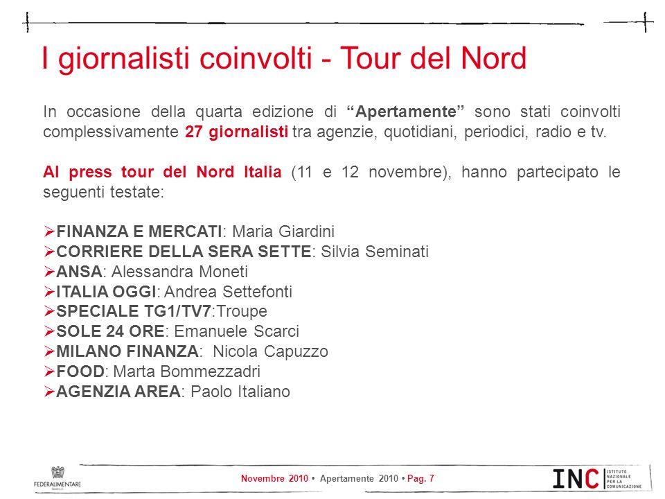 Novembre 2010 Apertamente 2010 Pag. 7 I giornalisti coinvolti - Tour del Nord In occasione della quarta edizione di Apertamente sono stati coinvolti c