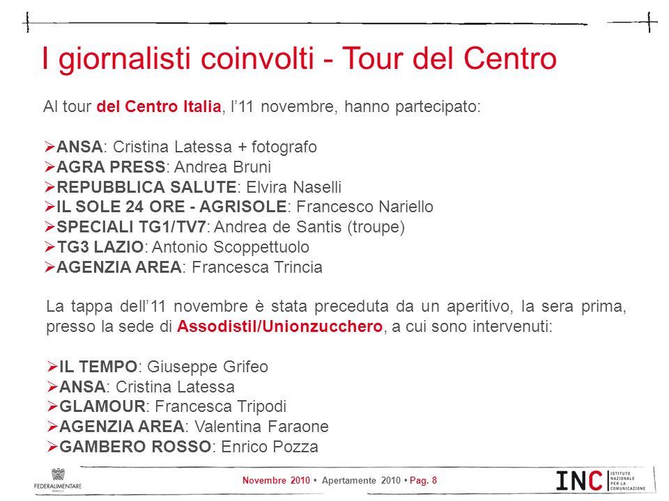 Novembre 2010 Apertamente 2010 Pag. 8 I giornalisti coinvolti - Tour del Centro Al tour del Centro Italia, l11 novembre, hanno partecipato: ANSA: Cris