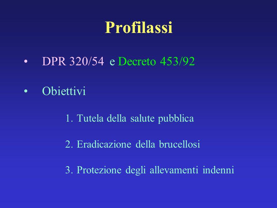 Profilassi DPR 320/54 e Decreto 453/92 Obiettivi 1.Tutela della salute pubblica 2.Eradicazione della brucellosi 3.Protezione degli allevamenti indenni