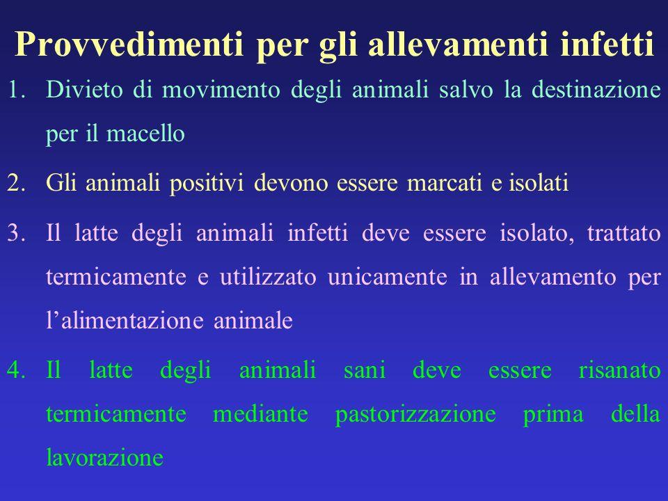Provvedimenti per gli allevamenti infetti 1.Divieto di movimento degli animali salvo la destinazione per il macello 2.Gli animali positivi devono esse