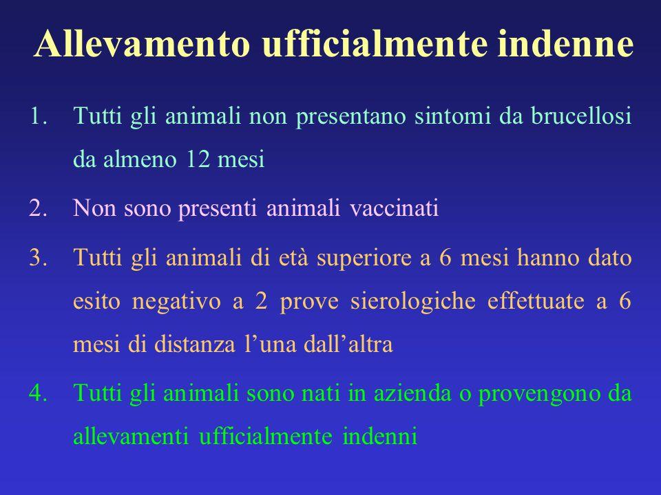 Allevamento ufficialmente indenne 1.Tutti gli animali non presentano sintomi da brucellosi da almeno 12 mesi 2.Non sono presenti animali vaccinati 3.T