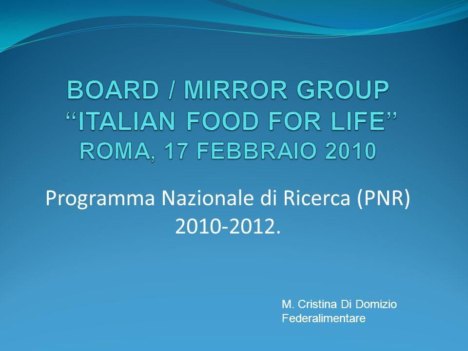 Programma Nazionale di Ricerca (PNR) 2010-2012. M. Cristina Di Domizio Federalimentare