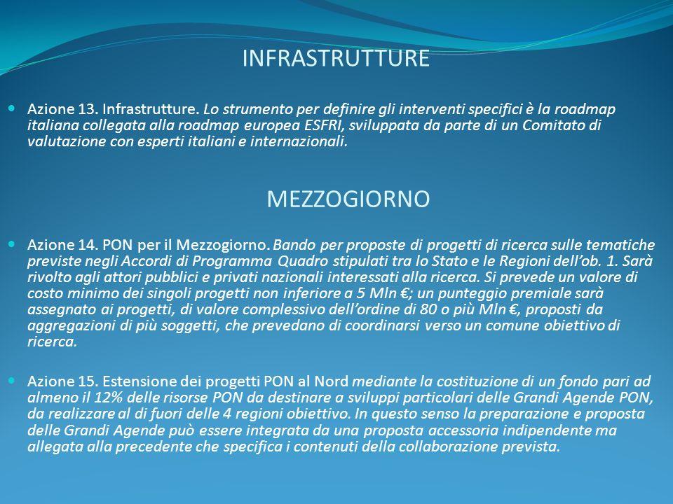 INFRASTRUTTURE Azione 13. Infrastrutture. Lo strumento per definire gli interventi specifici è la roadmap italiana collegata alla roadmap europea ESFR