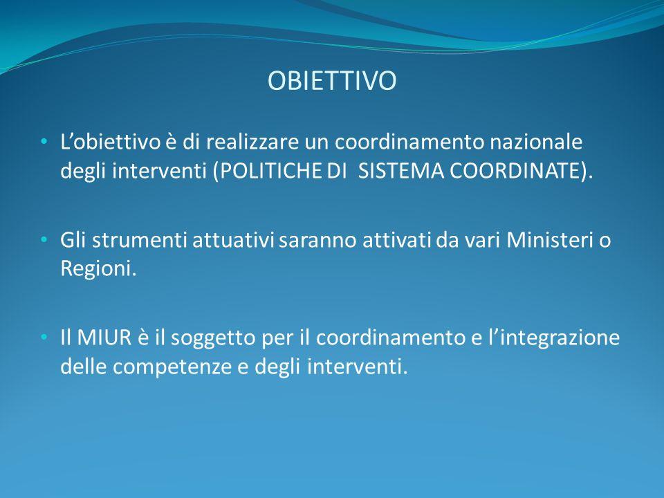 OBIETTIVO Lobiettivo è di realizzare un coordinamento nazionale degli interventi (POLITICHE DI SISTEMA COORDINATE). Gli strumenti attuativi saranno at