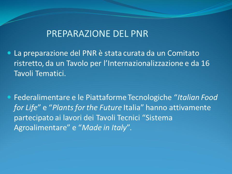 PREPARAZIONE DEL PNR La preparazione del PNR è stata curata da un Comitato ristretto, da un Tavolo per lInternazionalizzazione e da 16 Tavoli Tematici