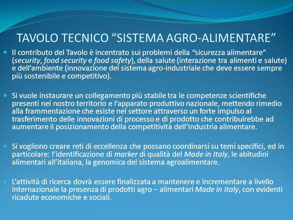 TAVOLO TECNICO SISTEMA AGRO-ALIMENTARE Il contributo del Tavolo è incentrato sui problemi della sicurezza alimentare (security, food security e food s