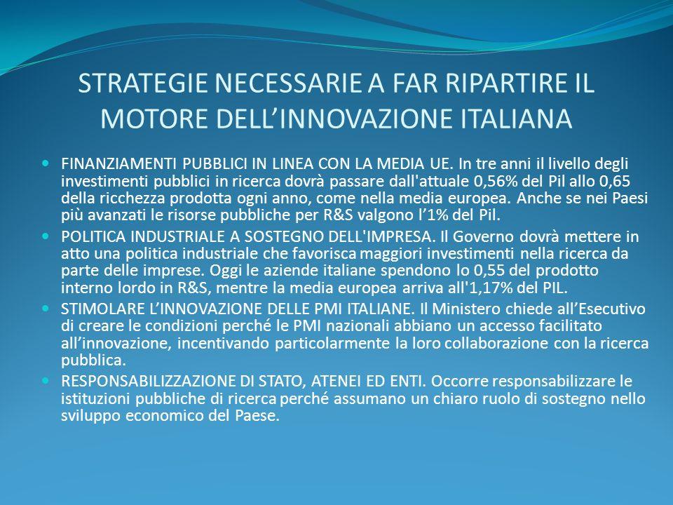 STRATEGIE NECESSARIE A FAR RIPARTIRE IL MOTORE DELLINNOVAZIONE ITALIANA FINANZIAMENTI PUBBLICI IN LINEA CON LA MEDIA UE. In tre anni il livello degli