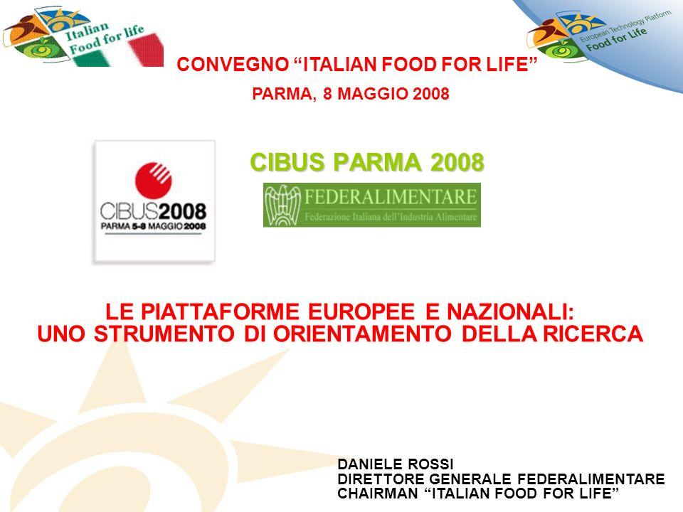 CIBUS PARMA 2008 LE PIATTAFORME EUROPEE E NAZIONALI: UNO STRUMENTO DI ORIENTAMENTO DELLA RICERCA CONVEGNO ITALIAN FOOD FOR LIFE DANIELE ROSSI DIRETTORE GENERALE FEDERALIMENTARE CHAIRMAN ITALIAN FOOD FOR LIFE PARMA, 8 MAGGIO 2008