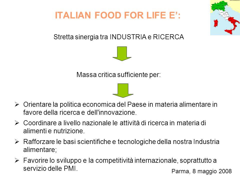 ITALIAN FOOD FOR LIFE E: Stretta sinergia tra INDUSTRIA e RICERCA Massa critica sufficiente per: Orientare la politica economica del Paese in materia alimentare in favore della ricerca e dell innovazione.