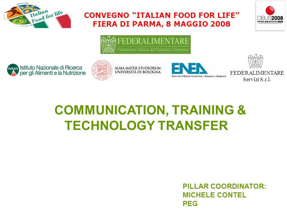 CONVEGNO ITALIAN FOOD FOR LIFE FIERA DI PARMA, 8 MAGGIO 2008 FEDERALIMENTARE Servizi S.r.l. COMMUNICATION, TRAINING & TECHNOLOGY TRANSFER PILLAR COORD