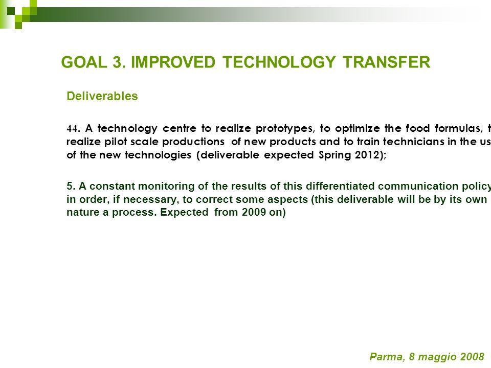 Communication, Training and Technology Transfer CALENDARIO A MEDIO TERMINE Communication Risultati attesi Costruire formati di comunicazione tecnica e divulgativa per le imprese ed i consumatori.