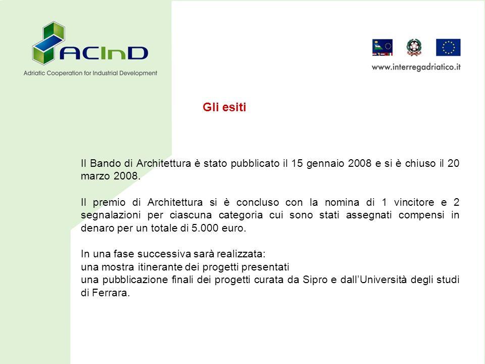 Il Bando di Architettura è stato pubblicato il 15 gennaio 2008 e si è chiuso il 20 marzo 2008.