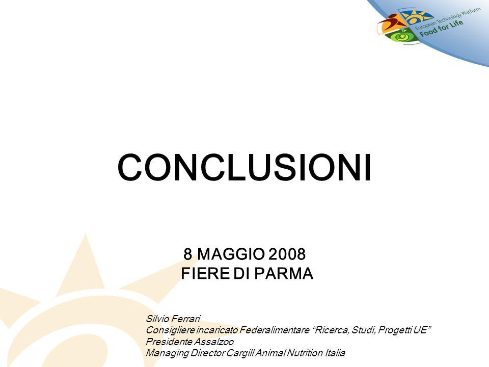 CONCLUSIONI Silvio Ferrari Consigliere incaricato Federalimentare Ricerca, Studi, Progetti UE Presidente Assalzoo Managing Director Cargill Animal Nut