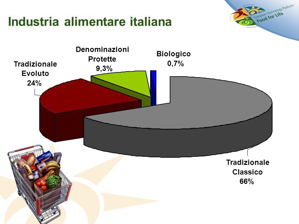 Industria alimentare italiana Tradizionale Classico 66% Tradizionale Evoluto 24% Denominazioni Protette 9,3% Biologico 0,7%