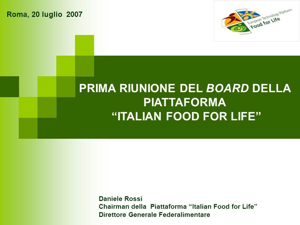 Roma, 20 luglio 2007 PRIMA RIUNIONE DEL BOARD DELLA PIATTAFORMA ITALIAN FOOD FOR LIFE Daniele Rossi Chairman della Piattaforma Italian Food for Life Direttore Generale Federalimentare