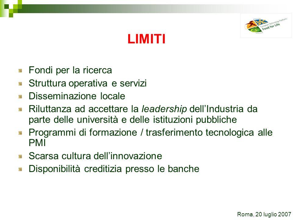 LIMITI Fondi per la ricerca Struttura operativa e servizi Disseminazione locale Riluttanza ad accettare la leadership dellIndustria da parte delle uni