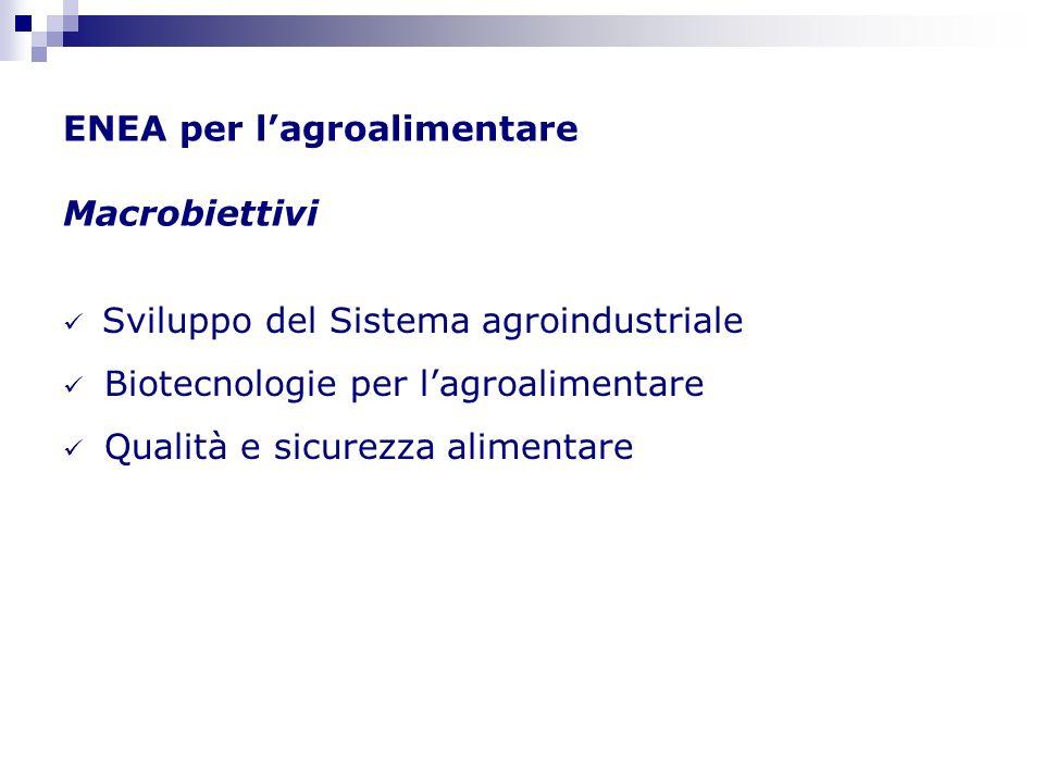 ENEA per lagroalimentare Macrobiettivi Sviluppo del Sistema agroindustriale Biotecnologie per lagroalimentare Qualità e sicurezza alimentare