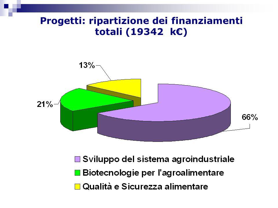 Progetti: ripartizione dei finanziamenti totali (19342 k)