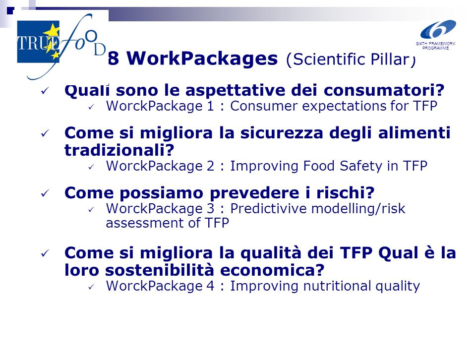 8 WorkPackages (Scientific Pillar) Quali sono le aspettative dei consumatori.