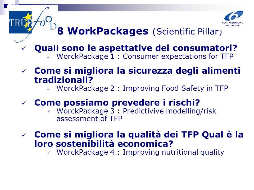 8 WorkPackages (Scientific Pillar) Quali sono le aspettative dei consumatori? WorckPackage 1 : Consumer expectations for TFP Come si migliora la sicur