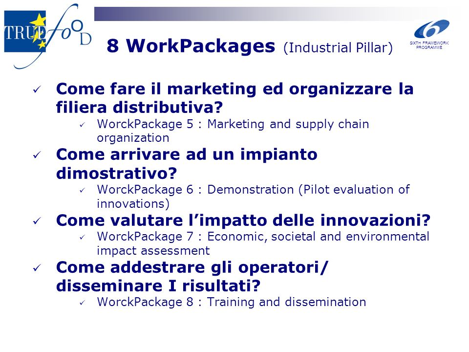 8 WorkPackages (Industrial Pillar) Come fare il marketing ed organizzare la filiera distributiva.