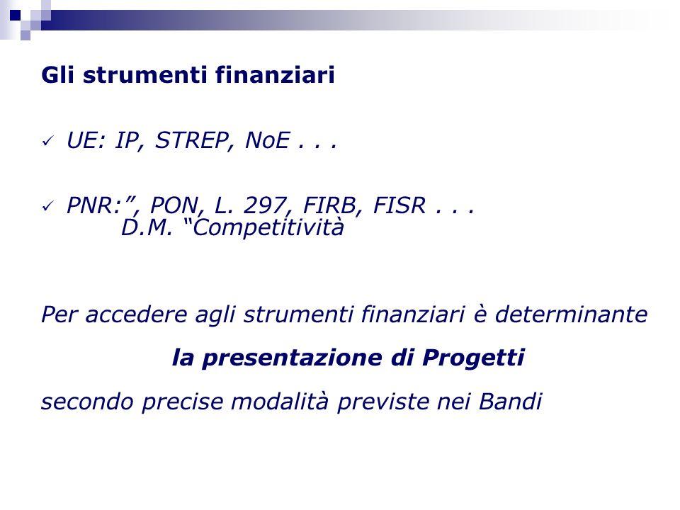 Gli strumenti finanziari UE: IP, STREP, NoE... PNR:, PON, L.