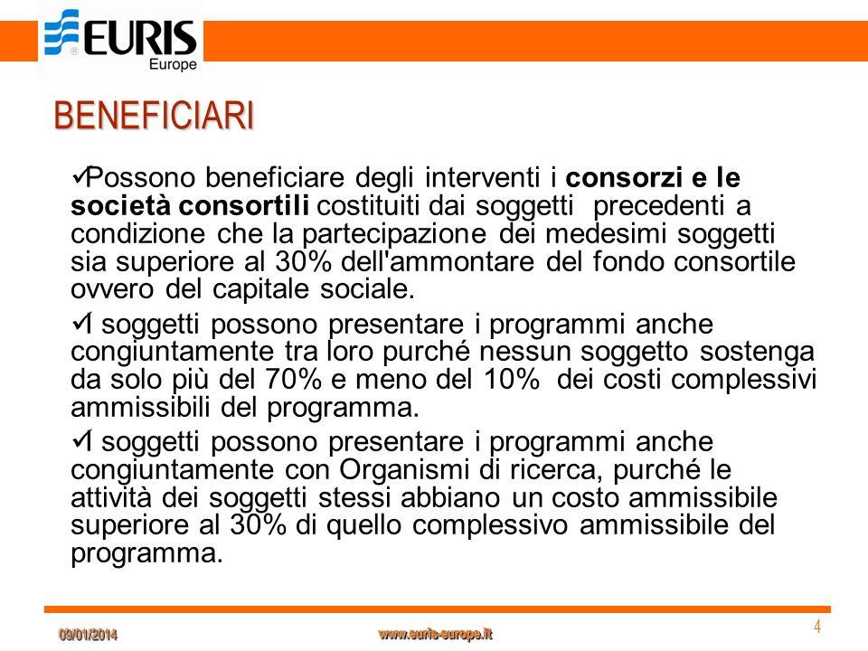 09/01/201409/01/2014 4 4 www.euris-europe.it BENEFICIARI Possono beneficiare degli interventi i consorzi e le società consortili costituiti dai sogget